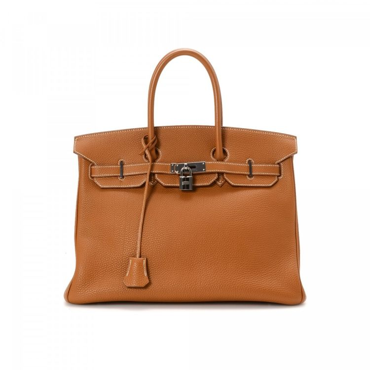 5a52c10a2e LXRandCo guarantees this is an authentic vintage Hermès Birkin 35 Gold  Ruthenium Hardware handbag. This refined handbag was crafted in togo calf  in gold ...