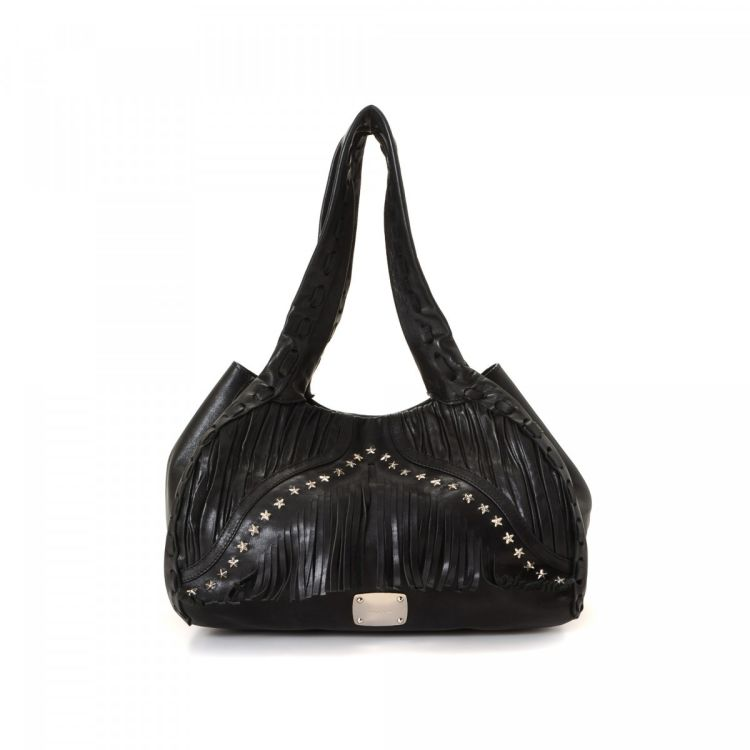 6249c2a3e09 LXRandCo guarantees the authenticity of this vintage Jimmy Choo Star Hobo  Bag shoulder bag. This lovely purse in beautiful black is made of leather.