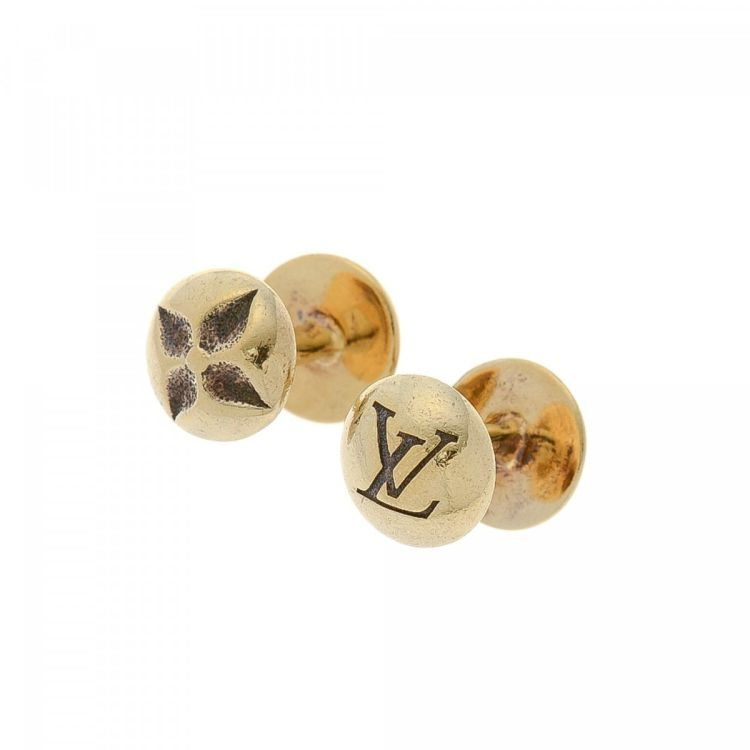 19badd22c3d7 LXRandCo guarantees the authenticity of this vintage Louis Vuitton Gold Cuff-links  cufflink. This luxurious cufflink in beautiful gold is made of brass.
