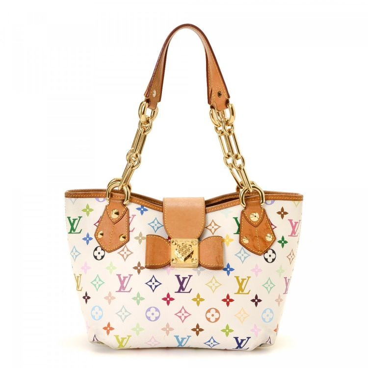 328e011ff1 ... vintage Louis Vuitton Annie MM shoulder bag is guaranteed by LXRandCo.  This sophisticated pocketbook in beautiful white is made in monogram  multicolore ...