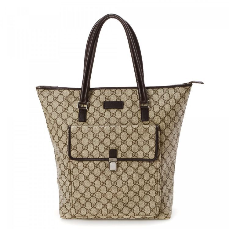 99357b36c09b78 LXRandCo guarantees the authenticity of this vintage Gucci Shopper tote.  Crafted in gg supreme coated canvas, this luxurious large handbag comes in  brown.