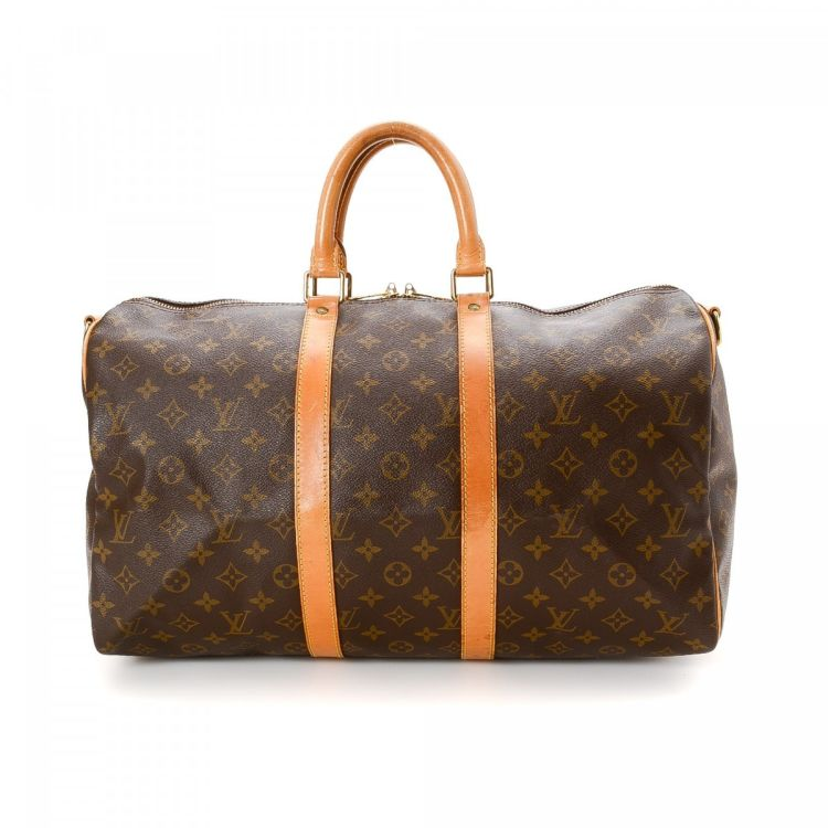 d4b67fd2cf9f ... vintage Louis Vuitton Keepall Bandouliere 45 travel bag is guaranteed  by LXRandCo. This lovely satchel was crafted in monogram coated canvas in  brown.