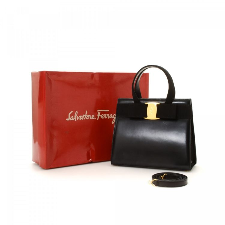LXRandCo guarantees this is an authentic vintage Ferragamo Vara Bow Two Way Bag  handbag. Crafted in leather 0b1f4b593a4af