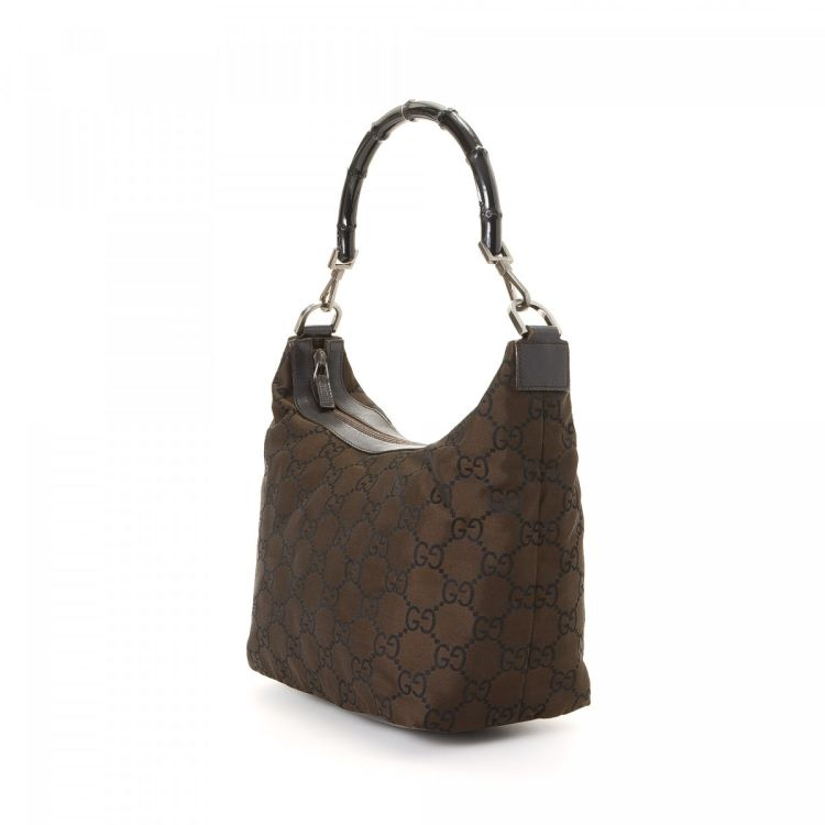 40bb9c7288fe7 Gucci GG Bamboo Shoulder Bag Guccissima Nylon - LXRandCo - Pre-Owned ...