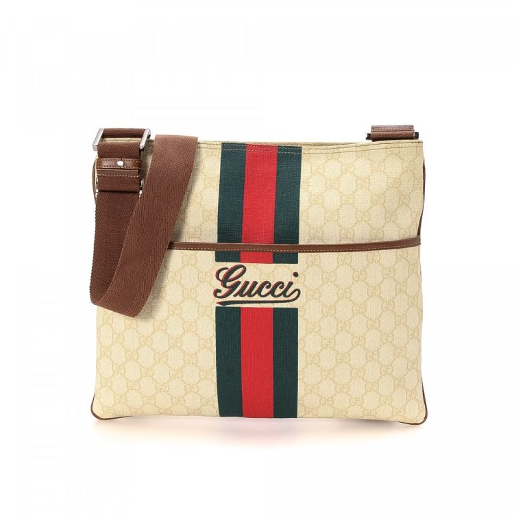 71049bfd547 LXRandCo guarantees this is an authentic vintage Gucci GG Supreme Web  Crossbody Bag messenger   crossbody bag. This beautiful messenger   crossbody  bag ...