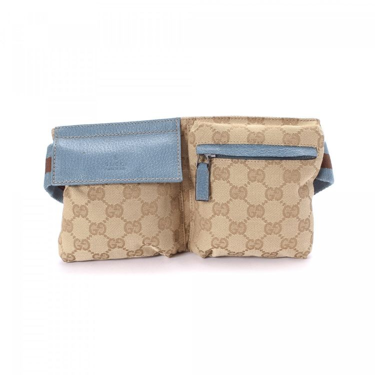 1d22e22db322cc LXRandCo guarantees this is an authentic vintage Gucci Waist Pouch vanity  case & pouch. This exquisite makeup case was crafted in gg canvas in beige.