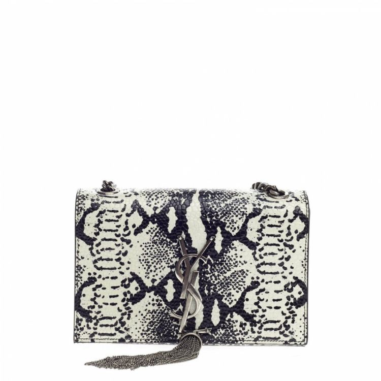 521f300db0e5 LXRandCo guarantees this is an authentic vintage Yves Saint Laurent Small  Classic Monogram Tassel Crossbody Bag Snakeskin Embossed handbag.