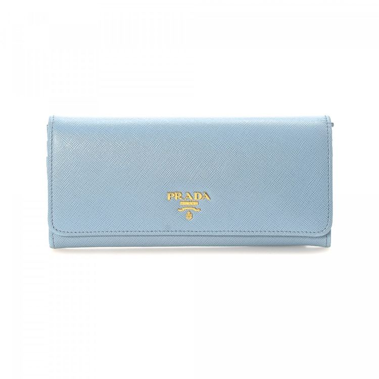 e0d4d6d1bdec LXRandCo guarantees this is an authentic vintage Prada Long wallet. Crafted  in saffiano leather, this everyday compact wallet comes in beautiful baby  blue.