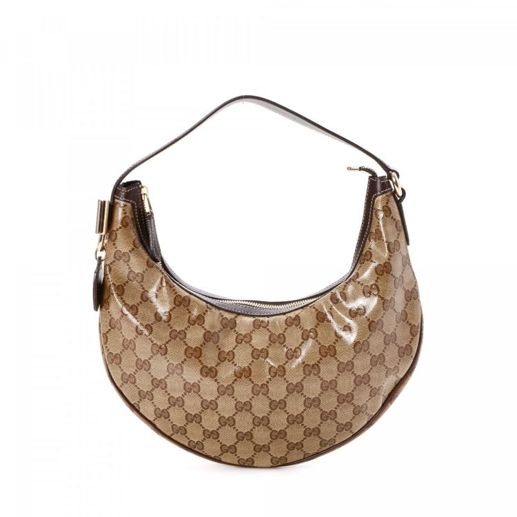 89f105b38c4 The authenticity of this vintage Gucci Hobo Bag shoulder bag is guaranteed  by LXRandCo. Crafted in gg crystal coated canvas