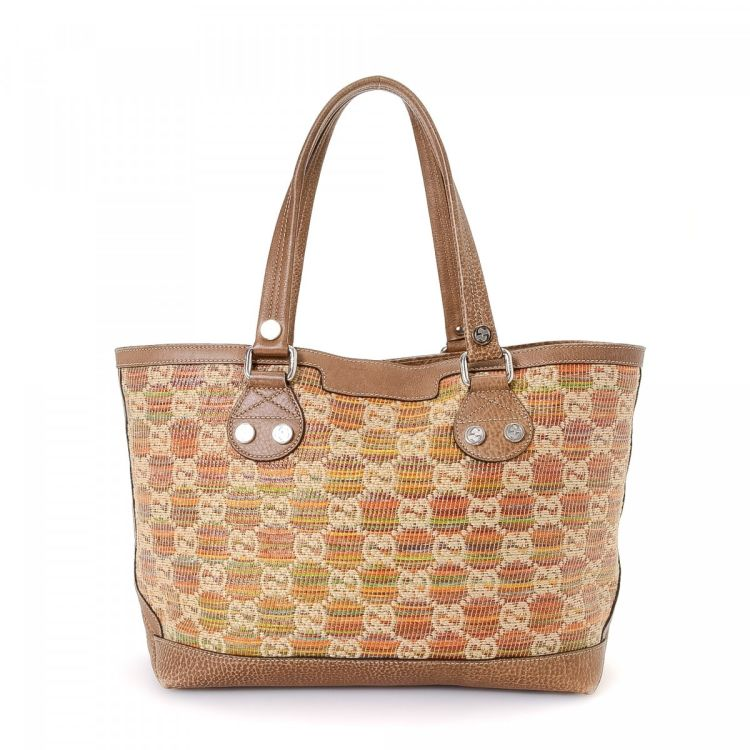 018a55f9eb3c LXRandCo guarantees this is an authentic vintage Gucci Sunset Raffia tote.  Crafted in gg canvas, this iconic bag comes in multi color.