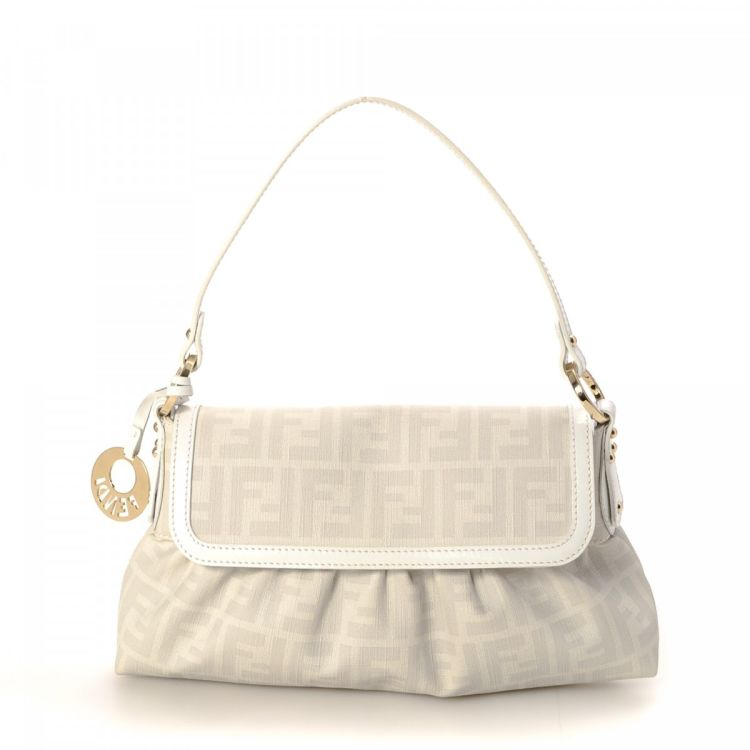 75eb40567c1 LXRandCo guarantees this is an authentic vintage Fendi Chef Bag handbag.  Crafted in zucca canvas, this practical handbag comes in white.