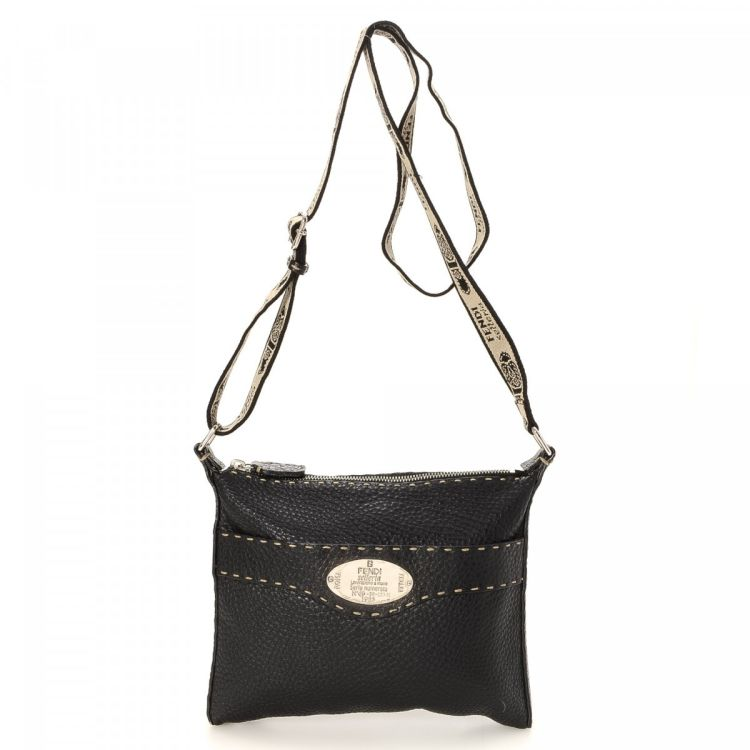 dd0a4f7eb7 LXRandCo guarantees this is an authentic vintage Fendi Crossbody Bag  messenger   crossbody bag. This chic hobo bag was crafted in selleria  leather in black.