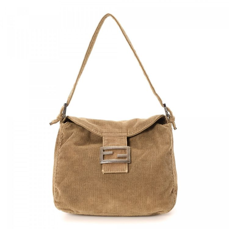 4dd8a7f5076e LXRandCo guarantees this is an authentic vintage Fendi Mamma Baguette  shoulder bag. This exquisite bag was crafted in corduroy in tan.