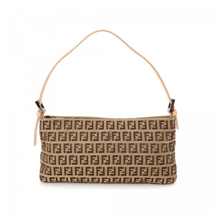 The authenticity of this vintage Fendi Small handbag is guaranteed by  LXRandCo. Crafted in zucchino canvas 11452e8a23c45