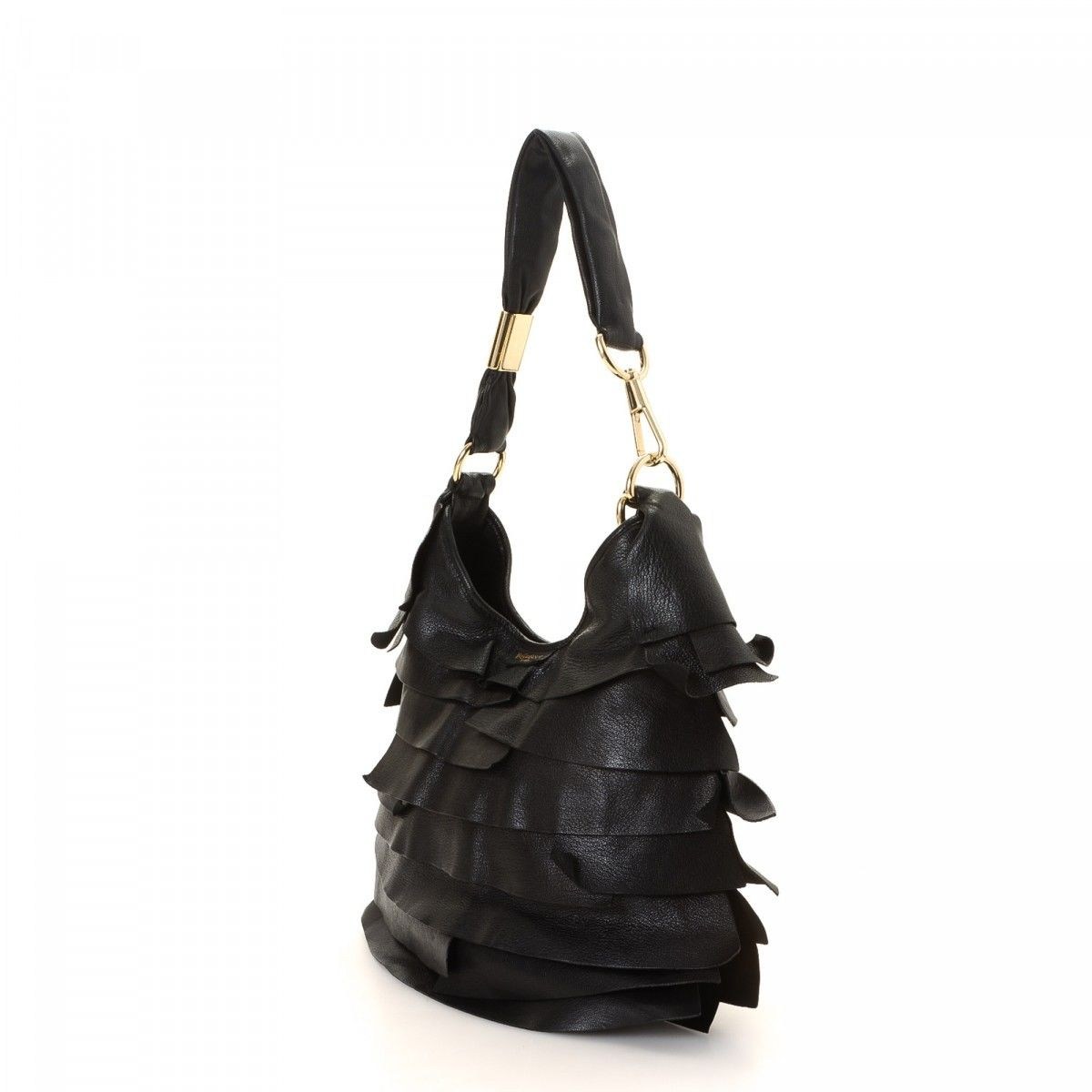 f09464663ce Yves Saint Laurent St. Tropez Ruffle Hobo Bag Leather - LXRandCo ...
