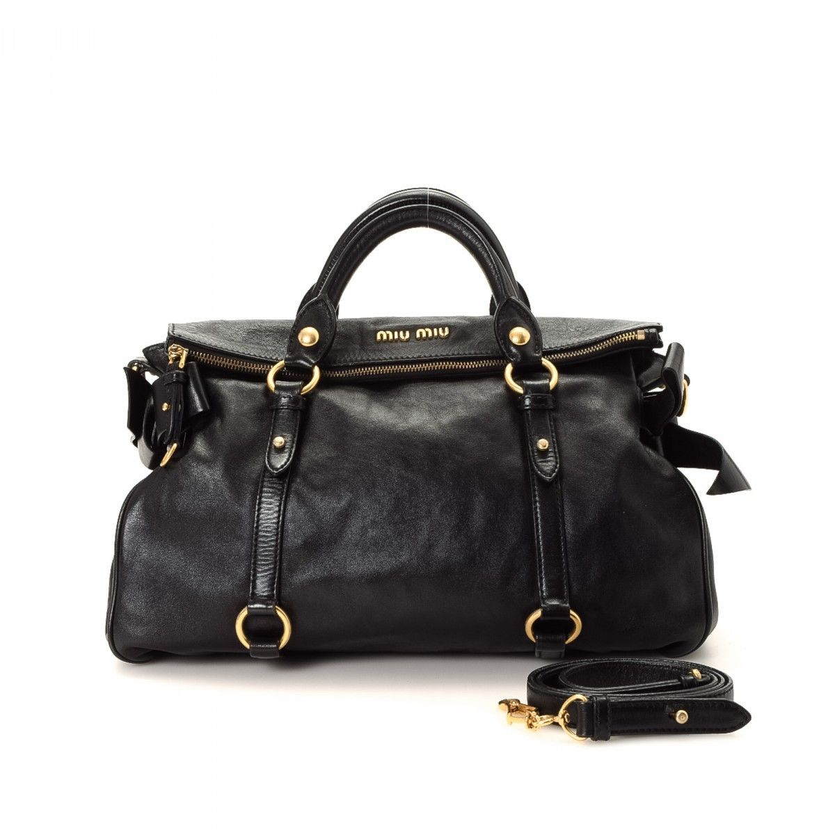 Miu Two Way Bow Bag Leather Lxrandco Pre Owned Luxury Vintage ed4a578aba5ea