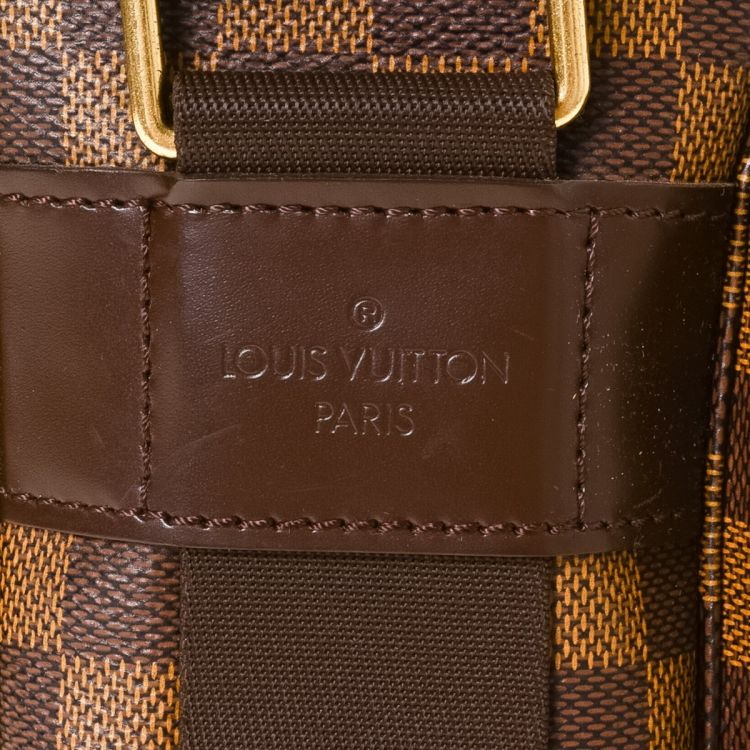 5cf1684eca13 ... vintage Louis Vuitton Broadway messenger   crossbody bag is guaranteed  by LXRandCo. This luxurious saddle bag was crafted in damier ebene coated  canvas ...