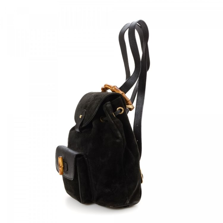 Gucci Bamboo Backpack Suede - LXRandCo - Pre-Owned Luxury Vintage bb174a315f255