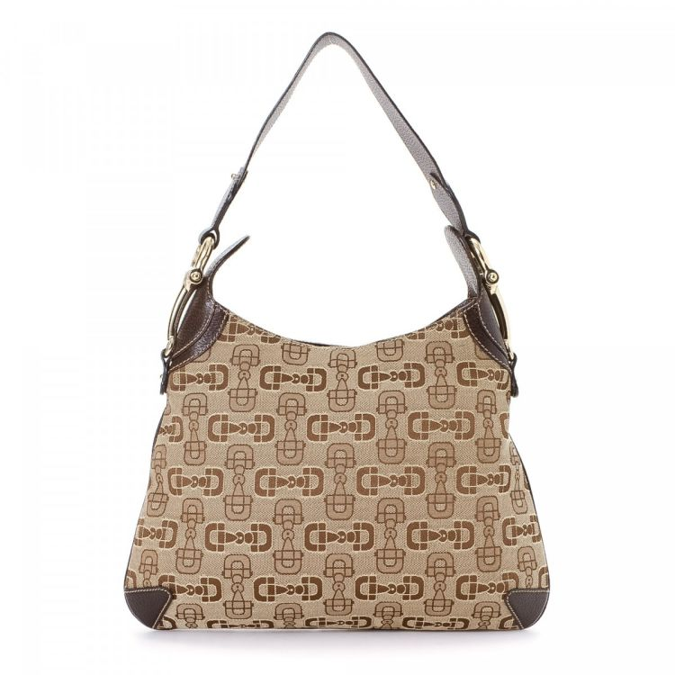 551e096ab LXRandCo guarantees the authenticity of this vintage Gucci Horsebit Hobo  Bag shoulder bag. This sophisticated pocketbook was crafted in monogram  canvas in ...