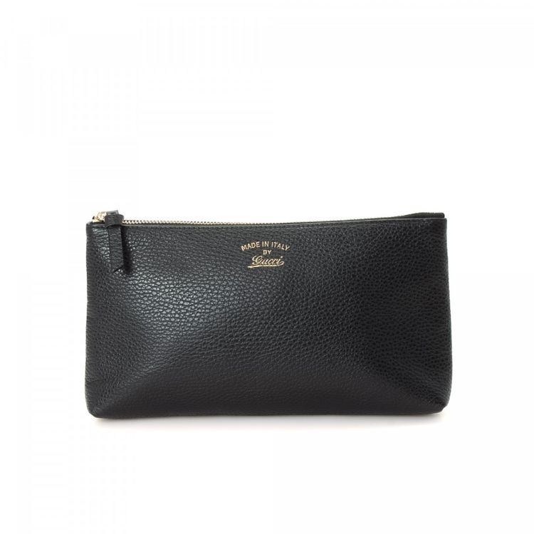 955903cc1 The authenticity of this vintage Gucci Accessory Pouch vanity case & pouch  is guaranteed by LXRandCo. This stylish toiletry bag in black is made of  leather.