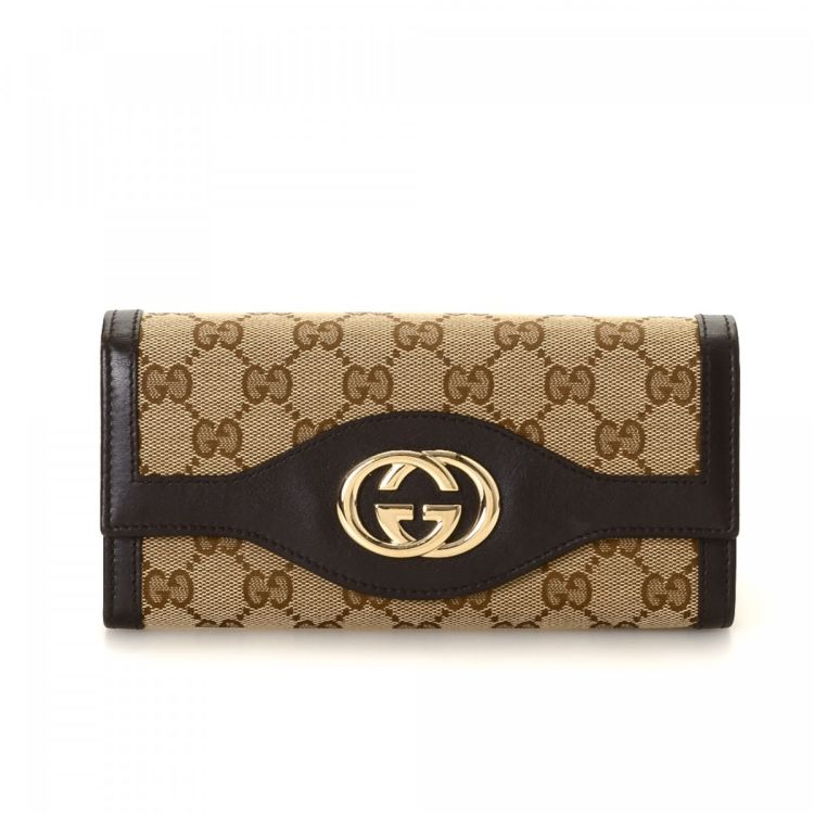 d62745ba345761 The authenticity of this vintage Gucci Sukey Continental wallet is  guaranteed by LXRandCo. Crafted in gg canvas, this classic coin purse comes  in brown.