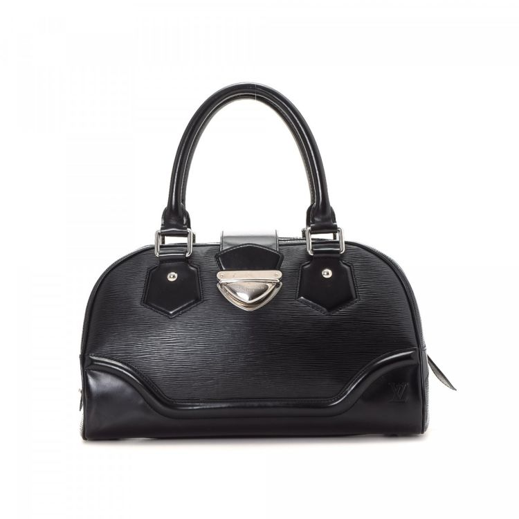 ... guarantees this is an authentic vintage Louis Vuitton Bowling Montaigne  GM handbag. This exquisite handbag in beautiful black is made in epi leather . 0826e362cdf30
