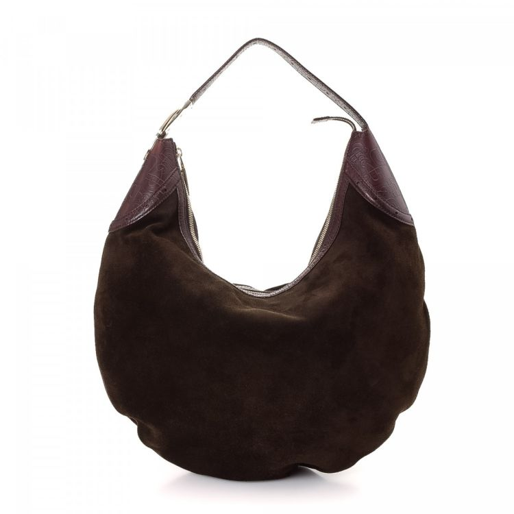 The authenticity of this vintage Gucci Hobo Bag shoulder bag is guaranteed  by LXRandCo. This chic bag comes in brown suede. Due to the vintage nature  of ... 1c3987e1490d5