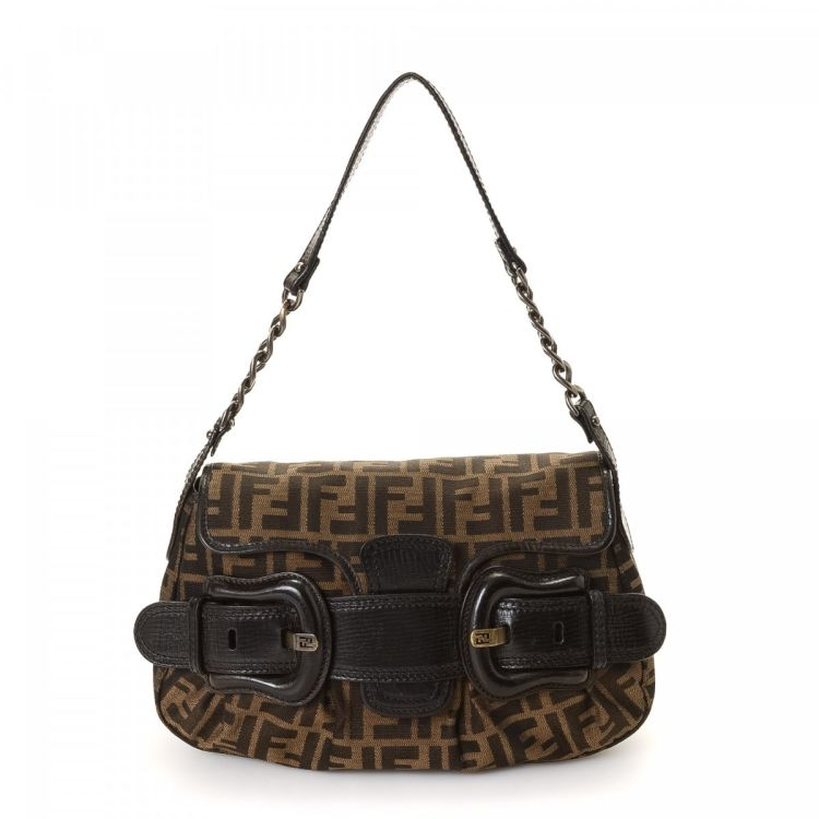 ff764ae836c1 LXRandCo guarantees this is an authentic vintage Fendi Hobo Bag shoulder bag.  Crafted in zucca canvas