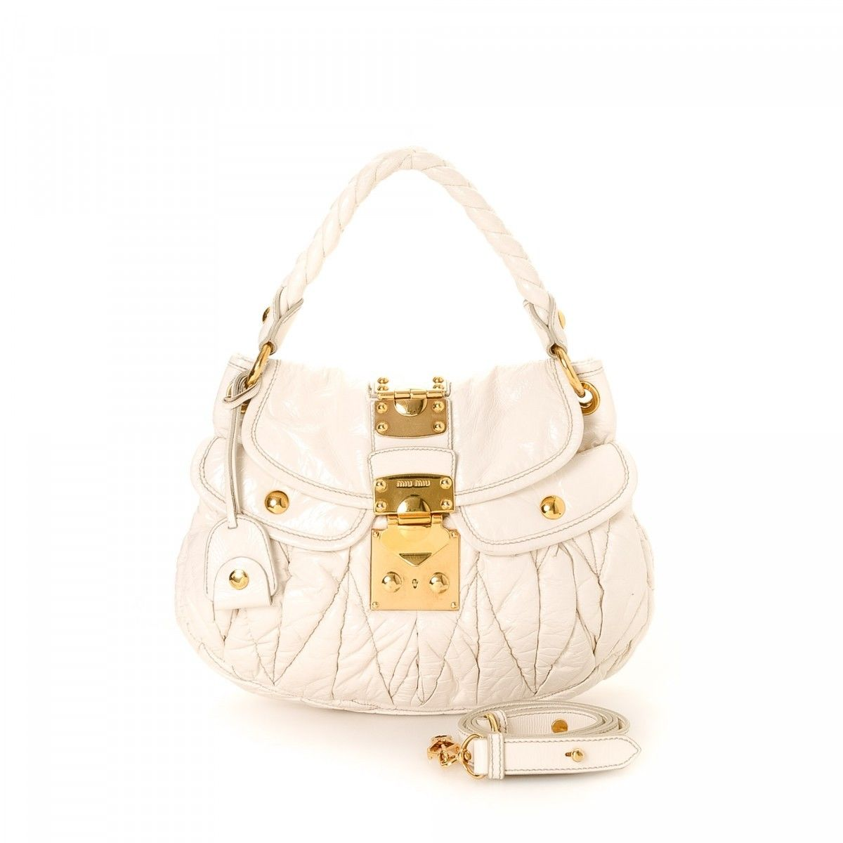 White logo leather shoulder bag Miu Miu
