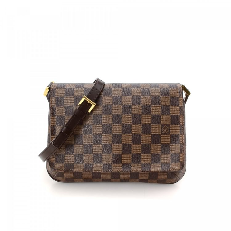 d1ca336bf575 The authenticity of this vintage Louis Vuitton Musette Tango Long Strap  messenger   crossbody bag is guaranteed by LXRandCo. Crafted in damier  ebene coated ...