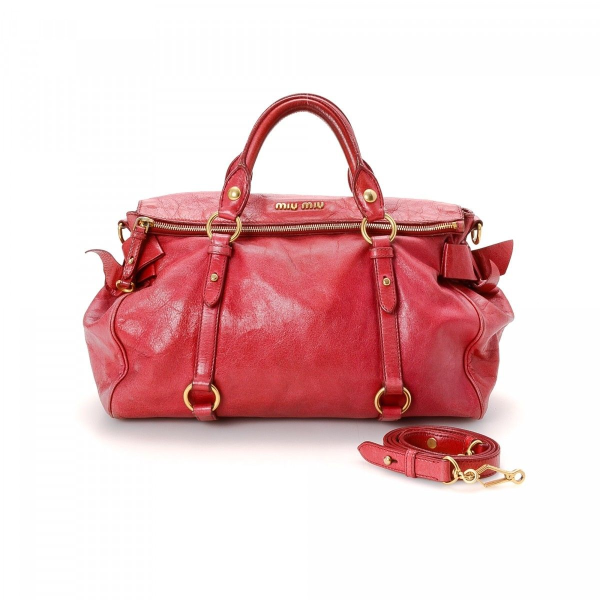d886519780c1 Miu Miu Two Way Bow Bag Leather - LXRandCo - Pre-Owned Luxury Vintage