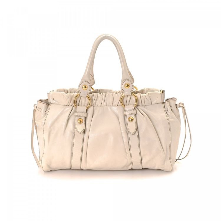 Miu Two Way Bag Leather Lxrandco Pre Owned Luxury Vintage 4698e515a427f
