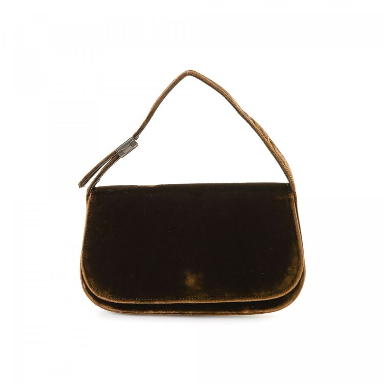 4368083d99bc LXRandCo guarantees this is an authentic vintage Prada handbag. Crafted in  velvet, this chic purse comes in beautiful brown. Due to the vintage nature  of ...