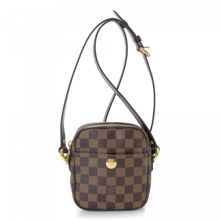 6e46aa2a3f3e ... Louis Vuitton Pochette Rift messenger   crossbody bag is guaranteed by  LXRandCo. This luxurious hobo bag in brown is made in damier ebene coated  canvas.