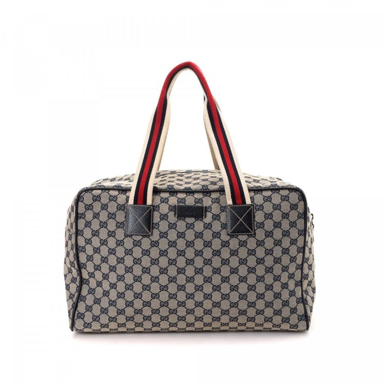 85bd051719c The authenticity of this vintage Gucci Boston Bag travel bag is guaranteed  by LXRandCo. Crafted in gg canvas