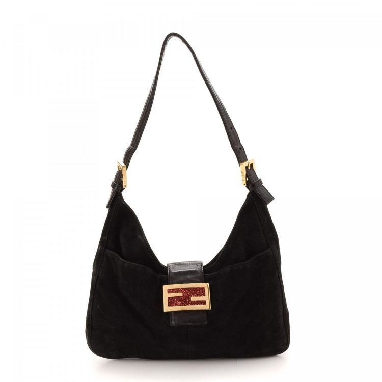 81b173eb9c55 LXRandCo guarantees this is an authentic vintage Fendi Glitter Buckle  shoulder bag. This lovely bag comes in beautiful black suede.