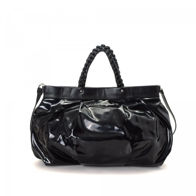 e4ea81936a LXRandCo guarantees the authenticity of this vintage Ferragamo Two Way tote.  Crafted in patent leather