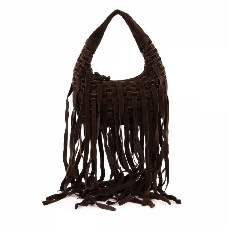 LXRandCo guarantees this is an authentic vintage Bottega Veneta Fringe Hobo  shoulder bag. This lovely satchel in brown is made in intrecciato suede. edffee1fad811
