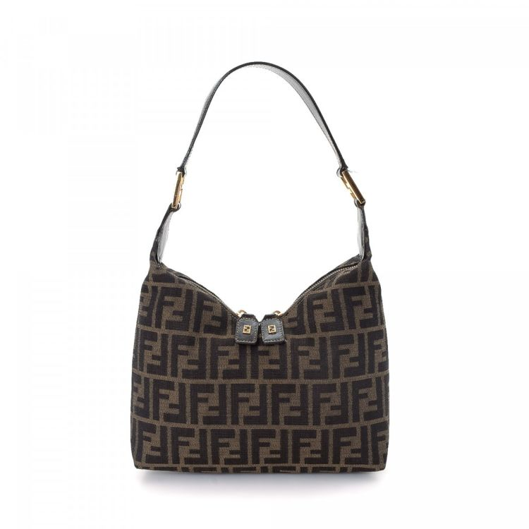 1ebd02d2a7ce The authenticity of this vintage Fendi handbag is guaranteed by LXRandCo.  This iconic purse was crafted in zucca canvas in beautiful brown.