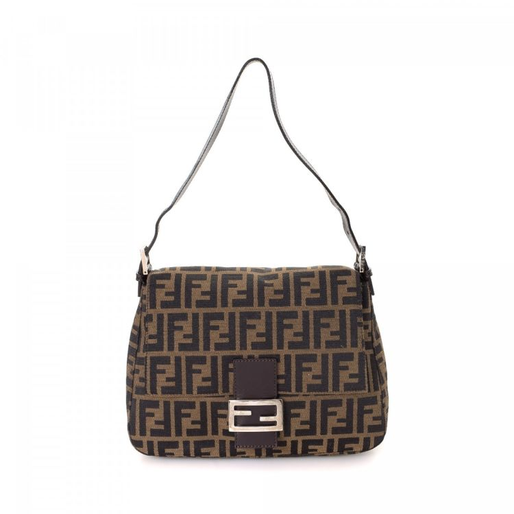 LXRandCo guarantees this is an authentic vintage Fendi Mamma Baguette  shoulder bag. This classic purse was crafted in zucca canvas in brown. 610732866108a