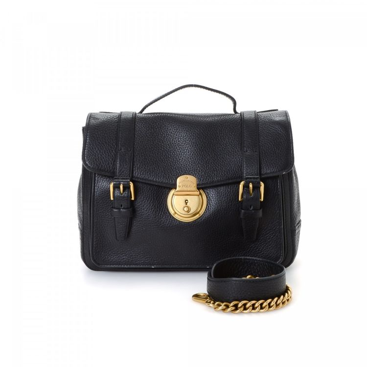 ccb49f3021ed LXRandCo guarantees this is an authentic vintage Polo Ralph Lauren Two Way Bag  shoulder bag. This signature purse in black is made of leather.