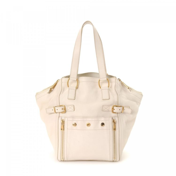 LXRandCo guarantees the authenticity of this vintage Yves Saint Laurent  Downtown tote. This lovely tote bag was crafted in leather in white. cafc764db0cef
