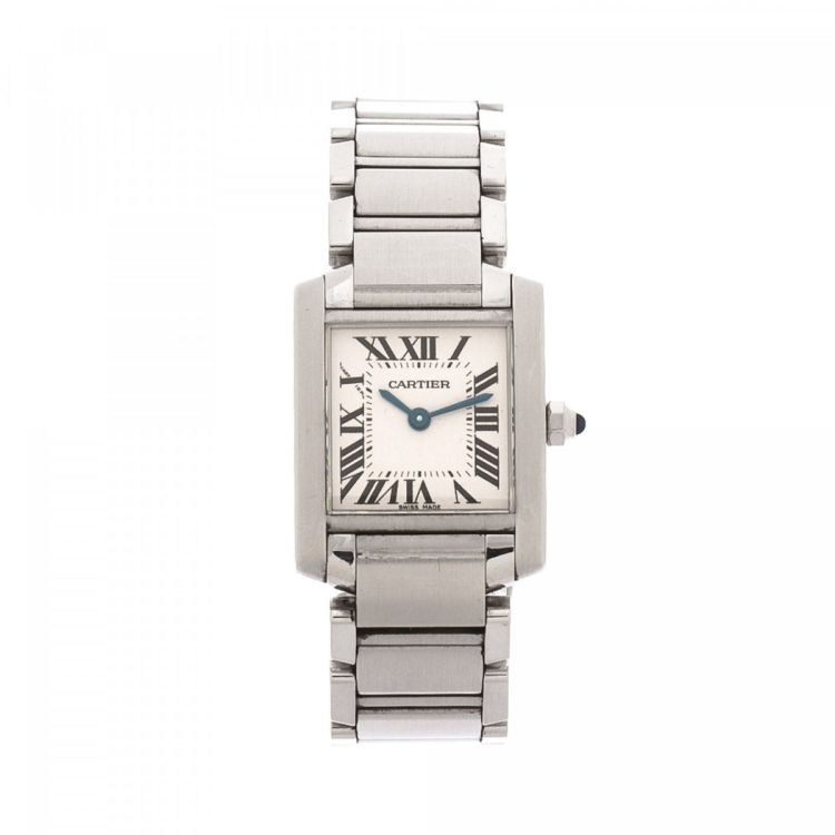 51c4697cb6b5 LXRandCo guarantees the authenticity of this vintage Cartier Tank Francaise  2384 20mm watch. This beautiful watch was crafted in stainless steel in  silver.