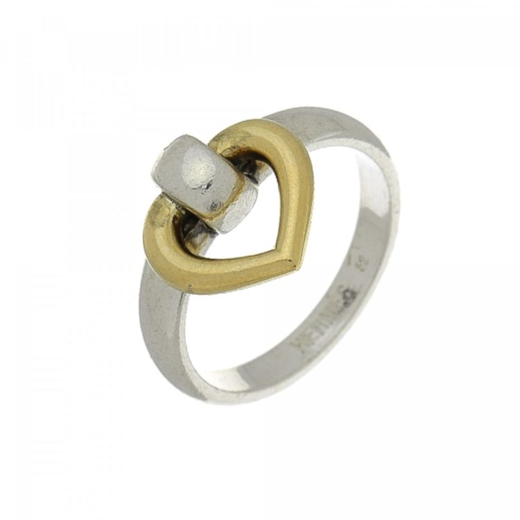 Hermès Heart Ring US 5.5/Fr 52 Sterling Silver and 18K Gold ...