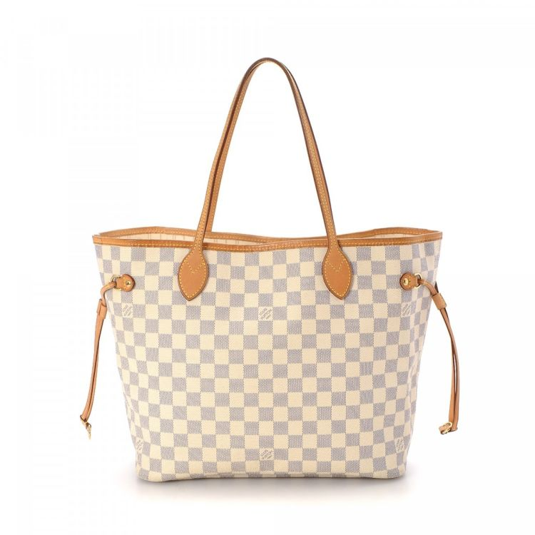97bd70a69d69 LXRandCo guarantees the authenticity of this vintage Louis Vuitton  Neverfull MM tote. This beautiful tote bag in white is made in damier azur  coated canvas.