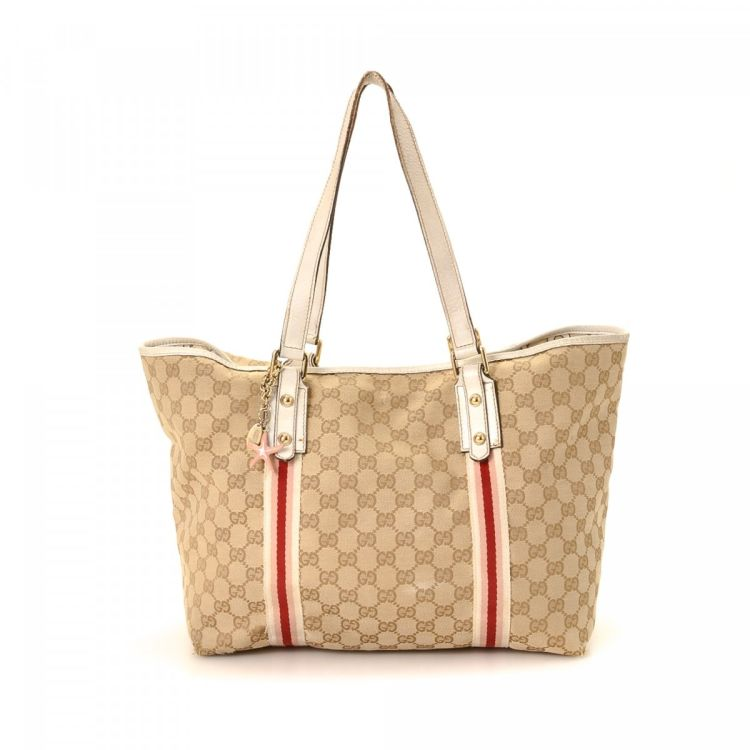 fb702944c LXRandCo guarantees this is an authentic vintage Gucci Bag tote. This  classic large handbag in beige is made in gg canvas. Due to the vintage  nature of this ...