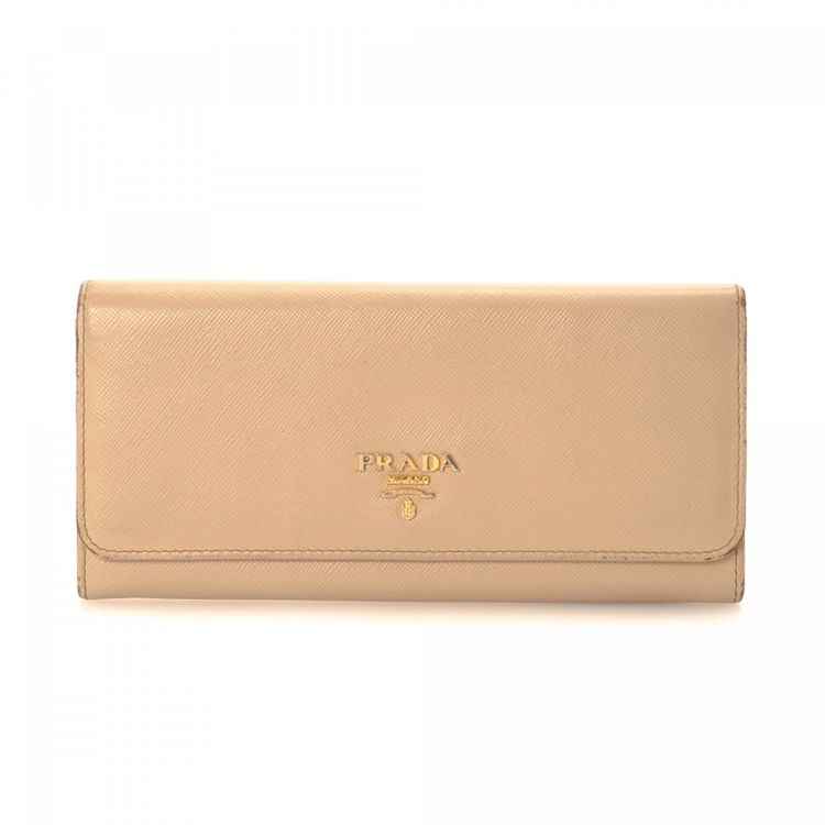 48a4a168380db8 ... discount code for prada long wallet saffiano leather lxrandco pre owned  luxury vintage 6bc38 f7941 ...
