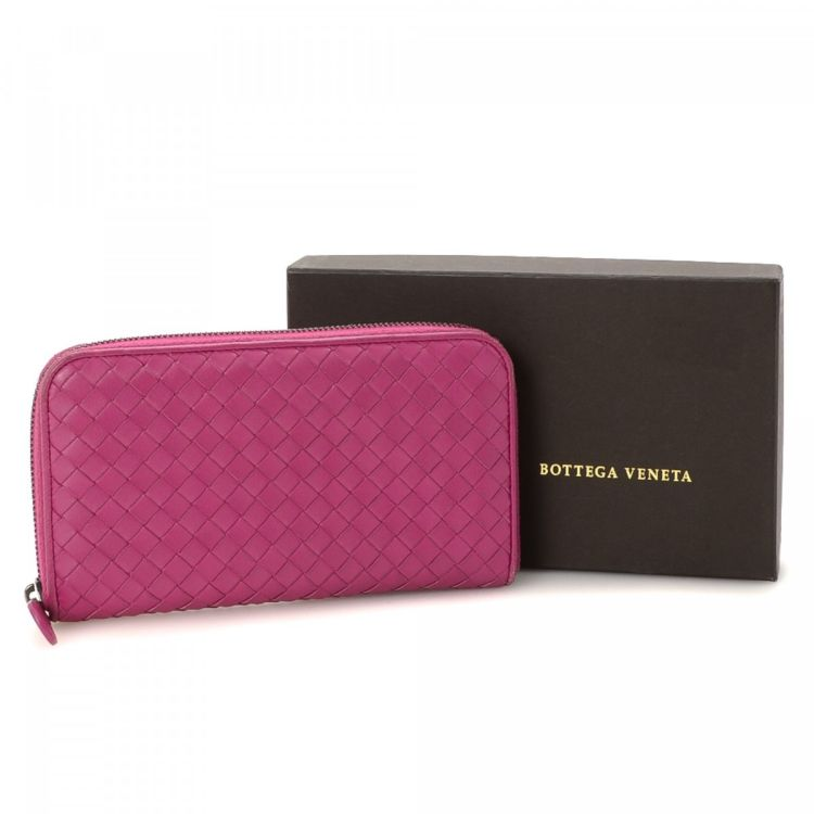 Pink Intrecciato Zip Around Wallet Bottega Veneta IkmH9