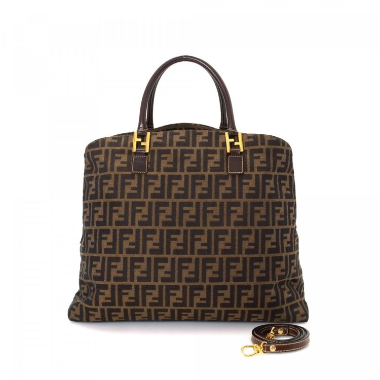 c376109d8ca1 LXRandCo guarantees the authenticity of this vintage Fendi Boston Bag  travel bag. Crafted in zucca canvas