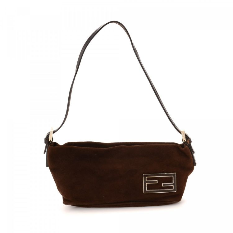 d1d43ff4b4 The authenticity of this vintage Fendi shoulder bag is guaranteed by  LXRandCo. This practical shoulder bag comes in beautiful dark brown suede.